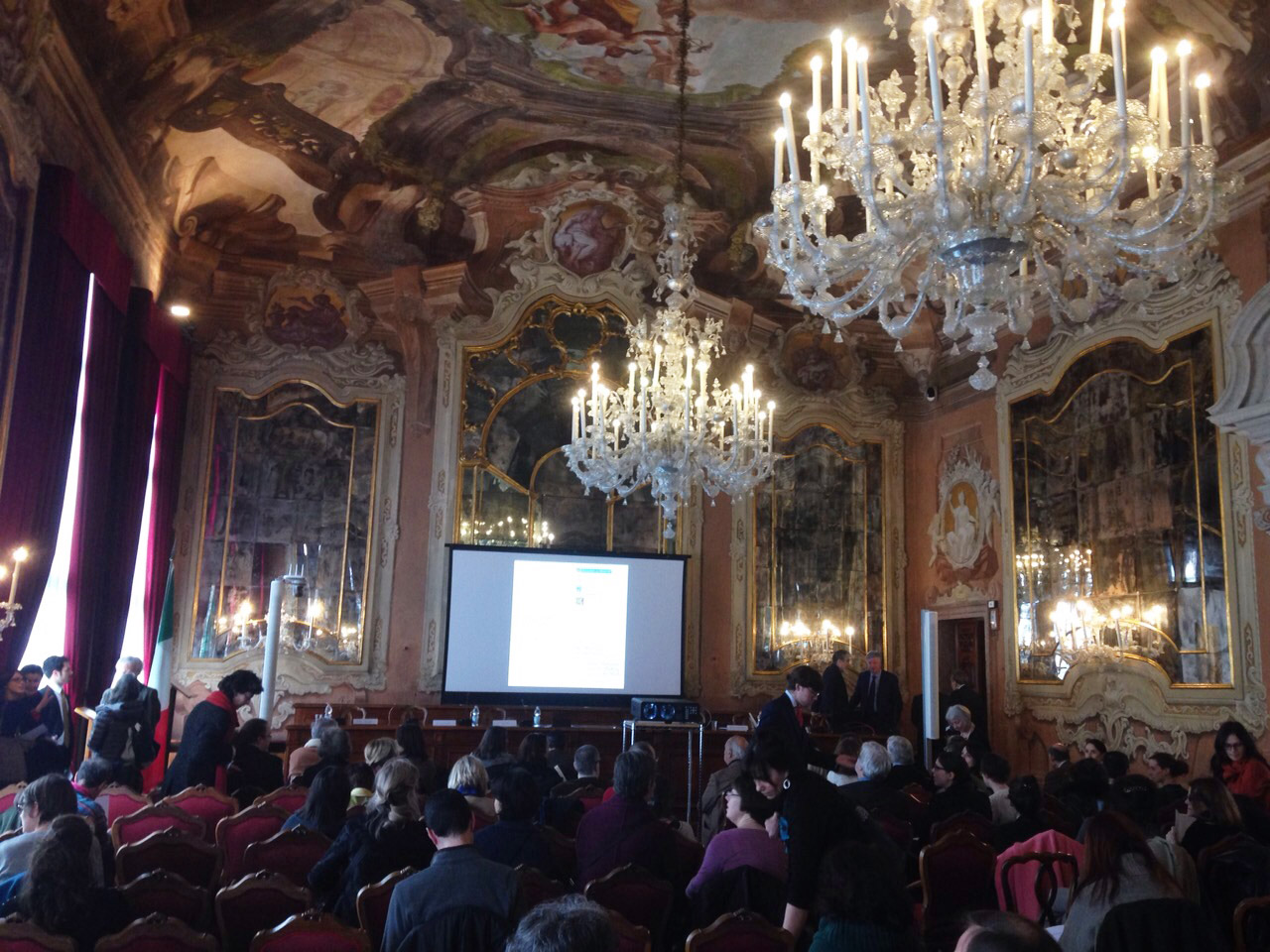 To comply with Venice's historical restoration requirements, the walls of the 16th century auditorium could not be altered or marred during AV system integration.