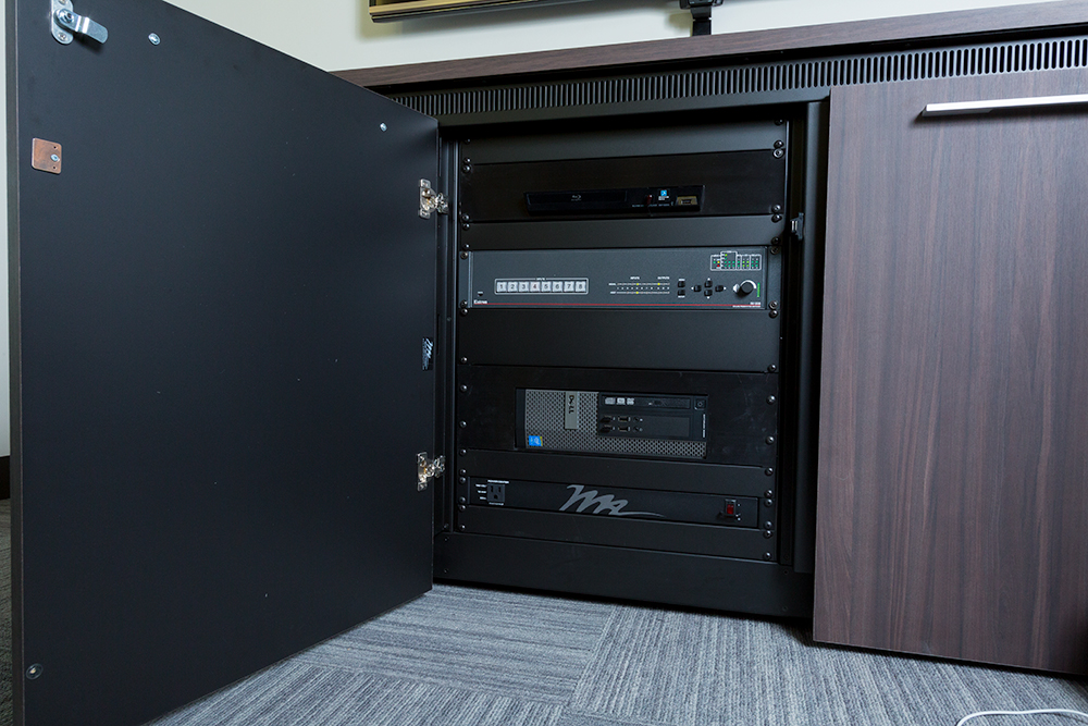 The Extron IN1608 scaling switcher was selected for conference and Instructional Support rooms because of its one-box solution with many capabilities, such as DTP extension and a built‑in control processor plus 70V power amplifier.