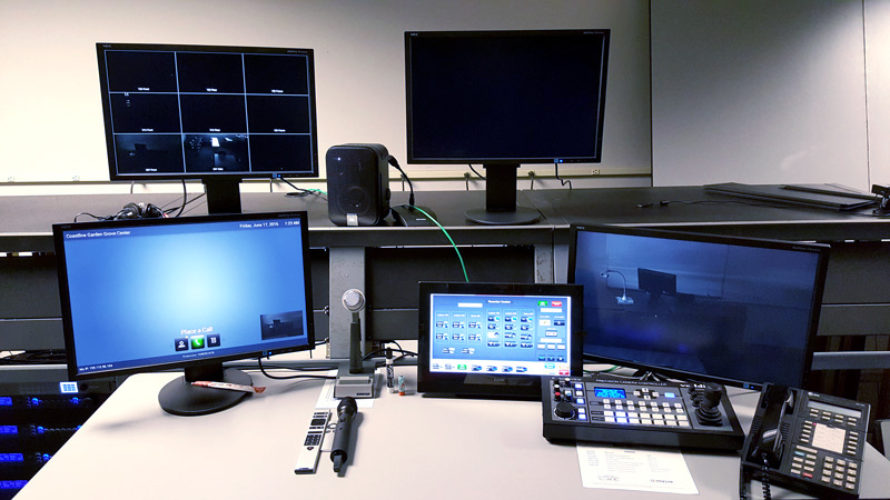 Control room technicians are able to remotely monitor sessions and communicate with the instructors.