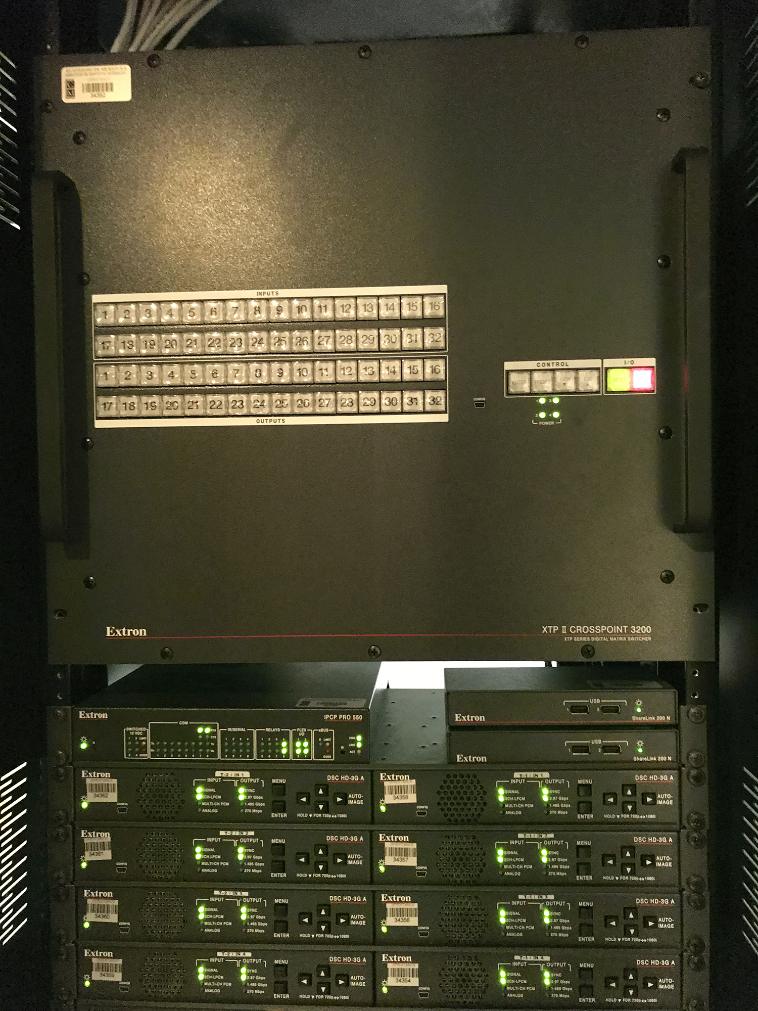 An Extron XTP II CrossPoint 3200 matrix switcher
