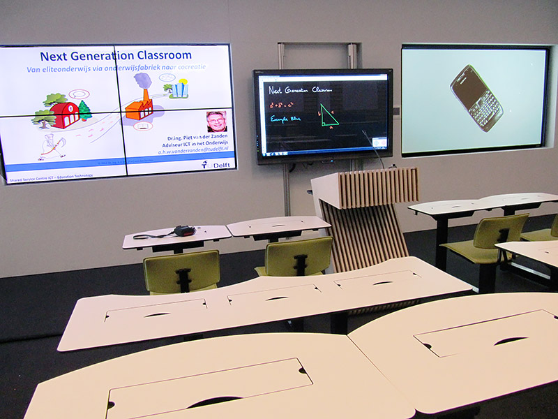 Crouwel Hall features three displays that may present up to six different images simultaneously.
