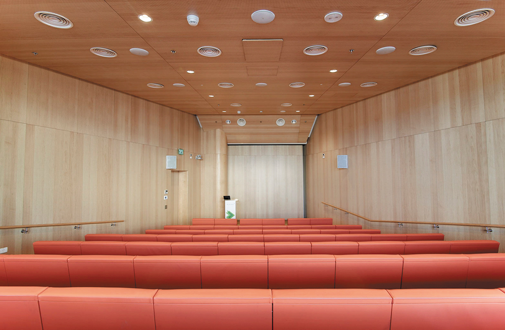 The largest room at the facility is the 120-seat auditorium. It shares the digital switching system with the adjacent executive boardroom.