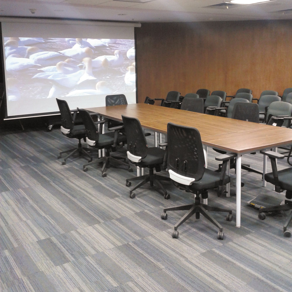 The conference room is used for meeting overflow from the auditorium, and for local AV presentations.