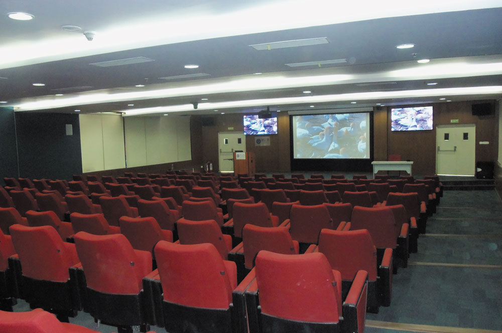 The XTP System provides flexible AV switching and distribution in the auditorium, allowing complete flexibility on which content will be shown on each of the display devices.