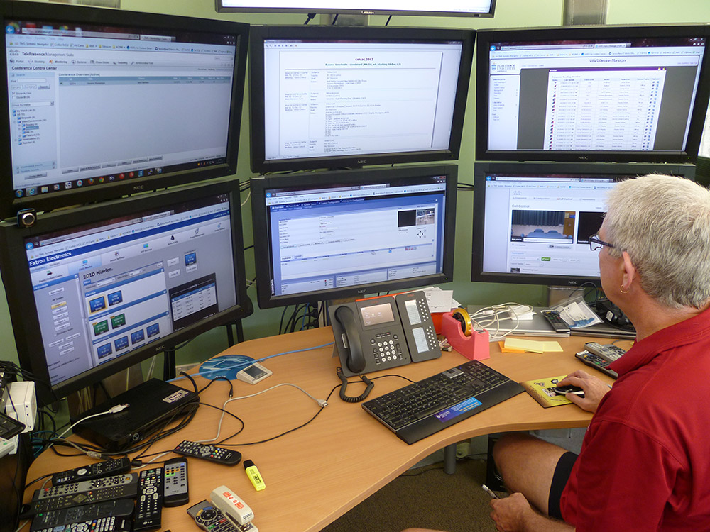The Help Desk is able to monitor and control the systems via Ethernet.