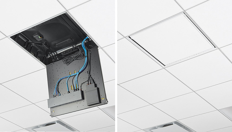 The PlenumVault mount accepts a trimmed ceiling tile to match the room environment and keep sensitive equipment hidden from view.