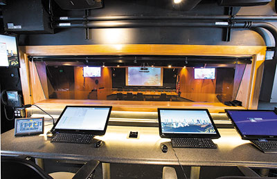 The mezzanine-style control room offers complete AV system operation and a clear view of displayed content within LAX's 100-seat Samuel Greenberg Boardroom.
