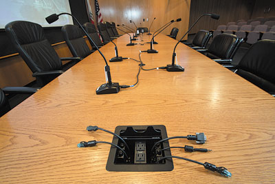 Boardroom Gets Major Refresh With Extron XTP System And DMP - Conference table hdmi port
