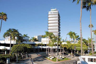 Erected in 1961 to serve as the original LAX control tower, the 12-story Clifton A. Moore Administration building now serves as LAWA headquarters.
