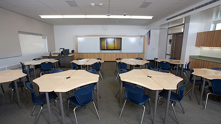 WallVault AV Systems were selected for classrooms with a wall mounted short-throw projector or flat panel display.