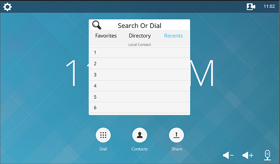 Lift Template Search or Dial Contacts Menu
