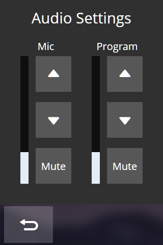 TLP Pro 300M Series Audio Setting Page