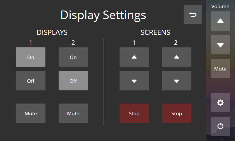 TLP Pro 525 Series Display Settings Page