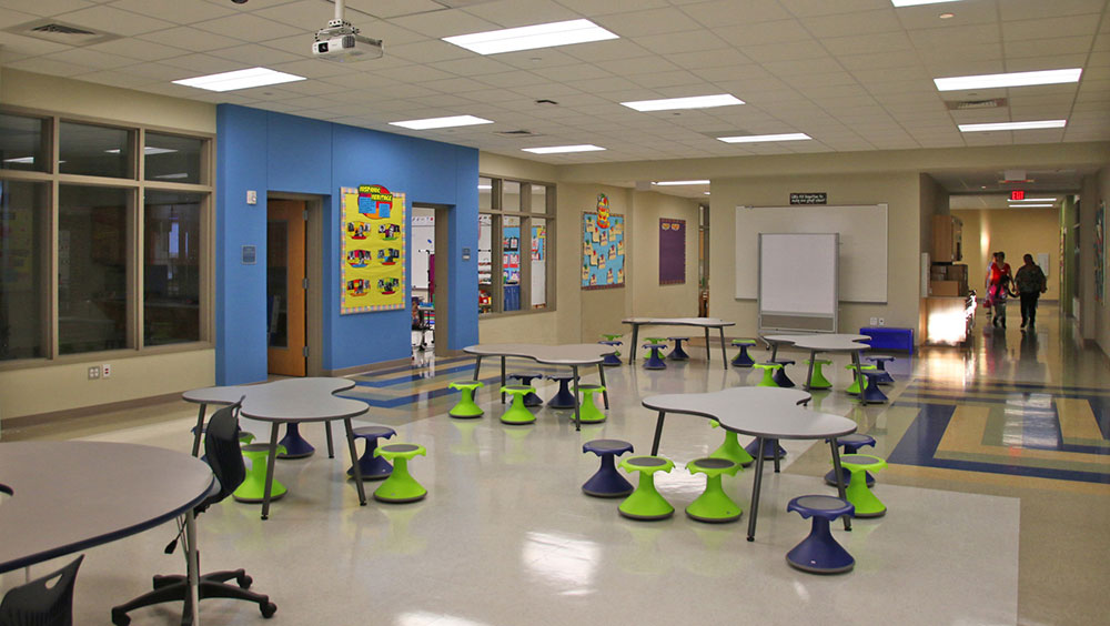 Flexible furniture and technology support a dynamic learning environment at ShadowGlen Elementary.