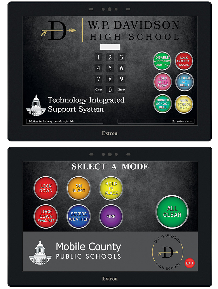 The appropriate campus security status can easily be selected using color-coded pushbuttons located on Extron TouchLink Pro touchpanels