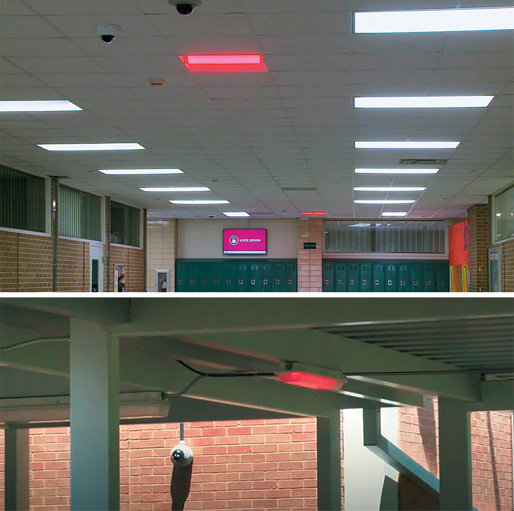 Color-changing IP LED lights in hallways, stairwells, and outdoor walkways indicate color-coded alert status.