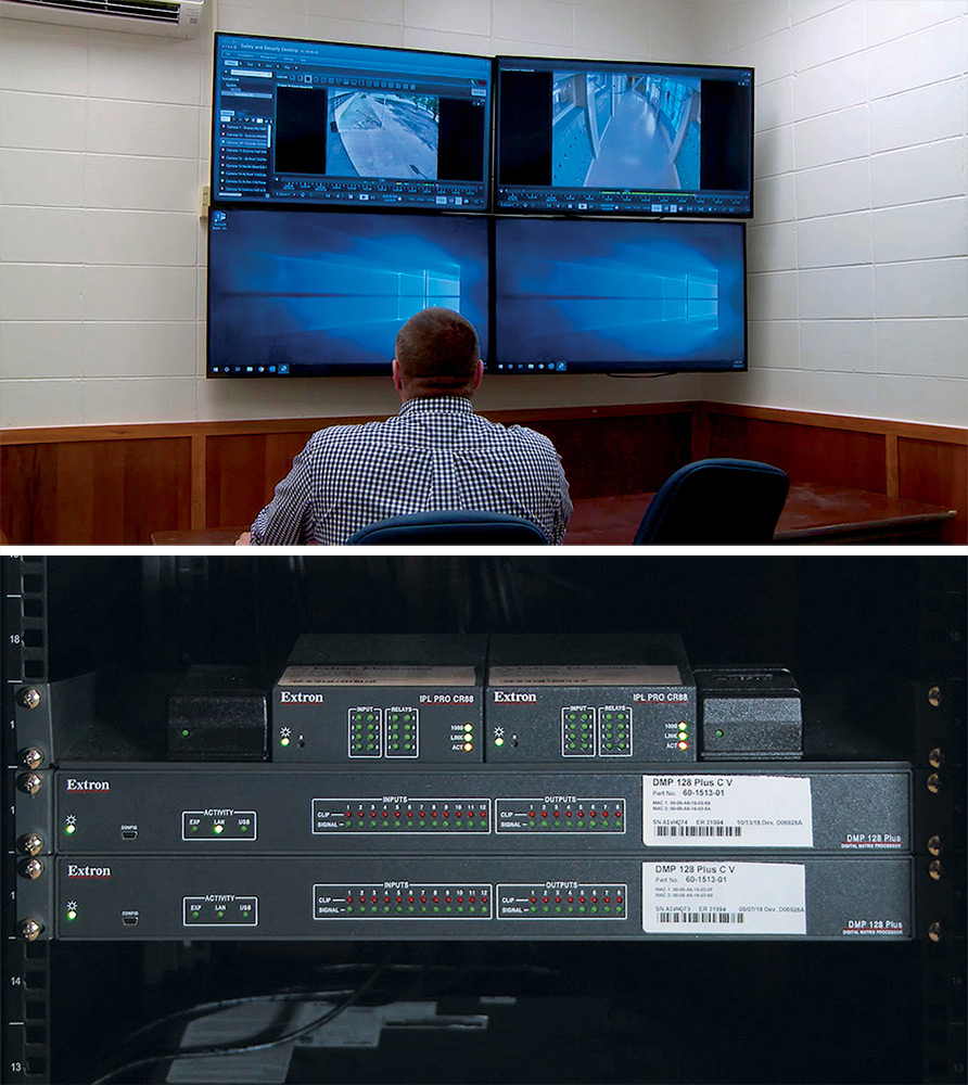 A locked control room houses security system monitoring, recording, switching, and control equipment.