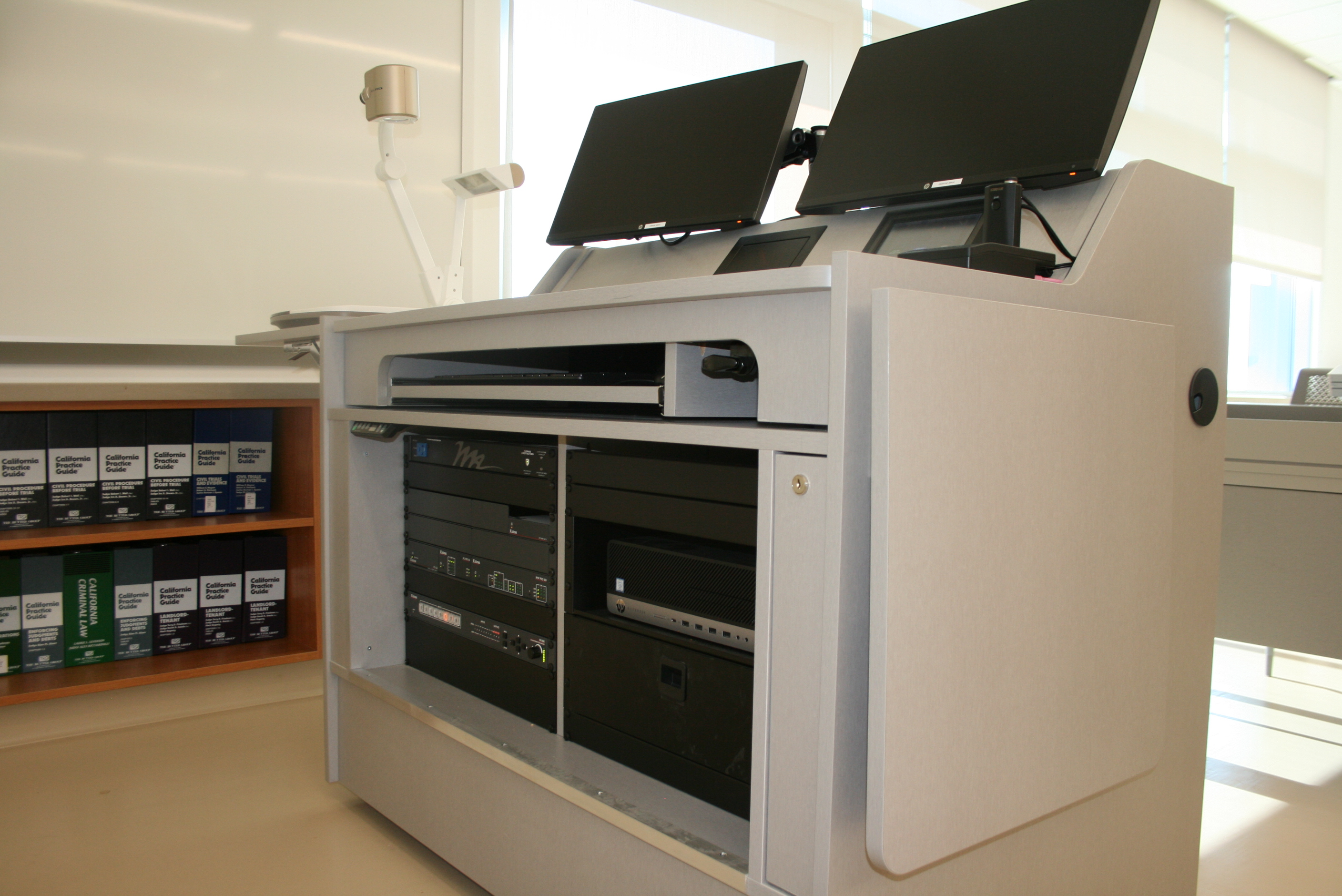 ADA-compliant teaching station with AV system components
