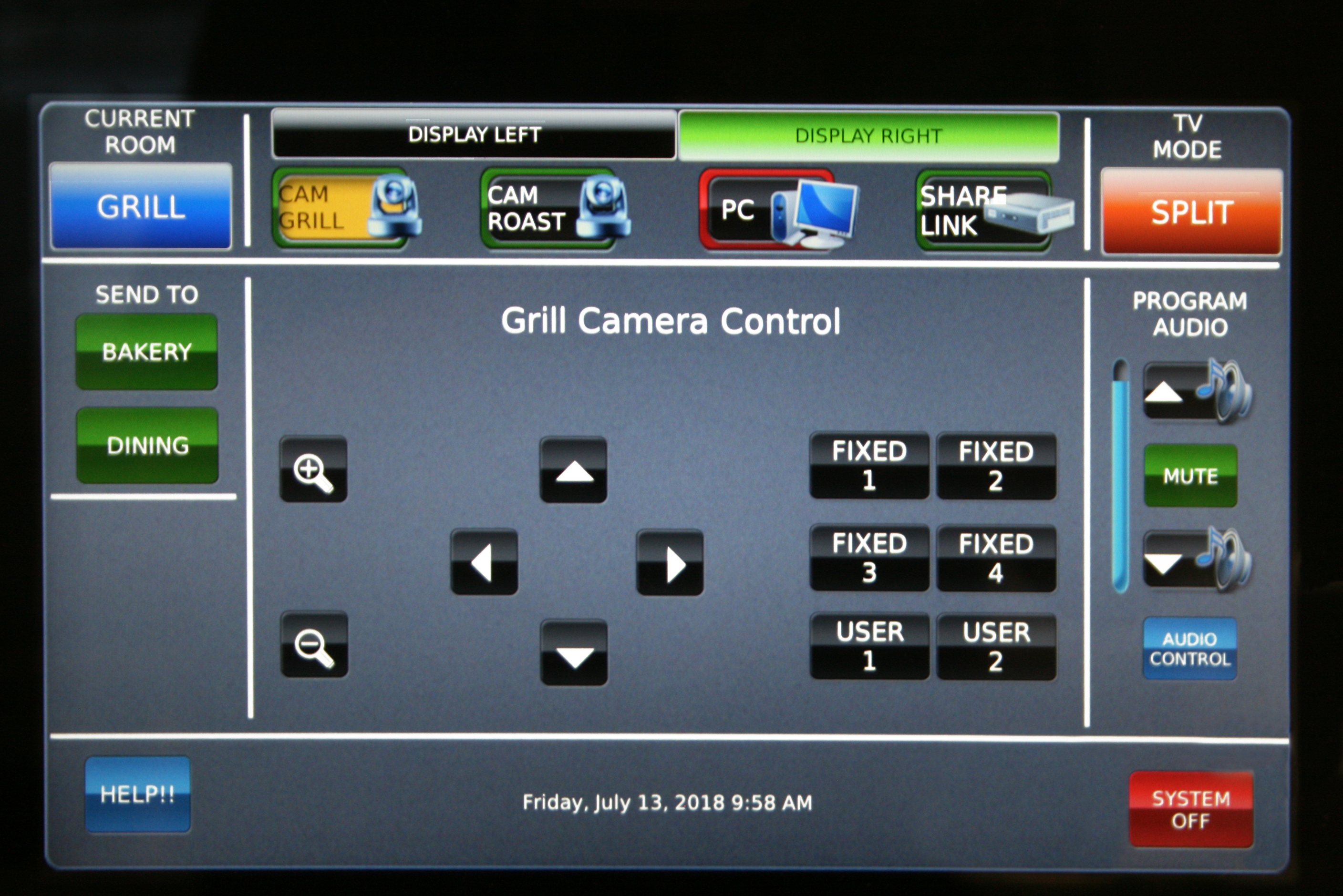 The full-motion video touchscreen on the TouchLink Pro touchpanel allows the instructor to easily preview and select the best camera angle when preparing to demonstrate a cooking technique.