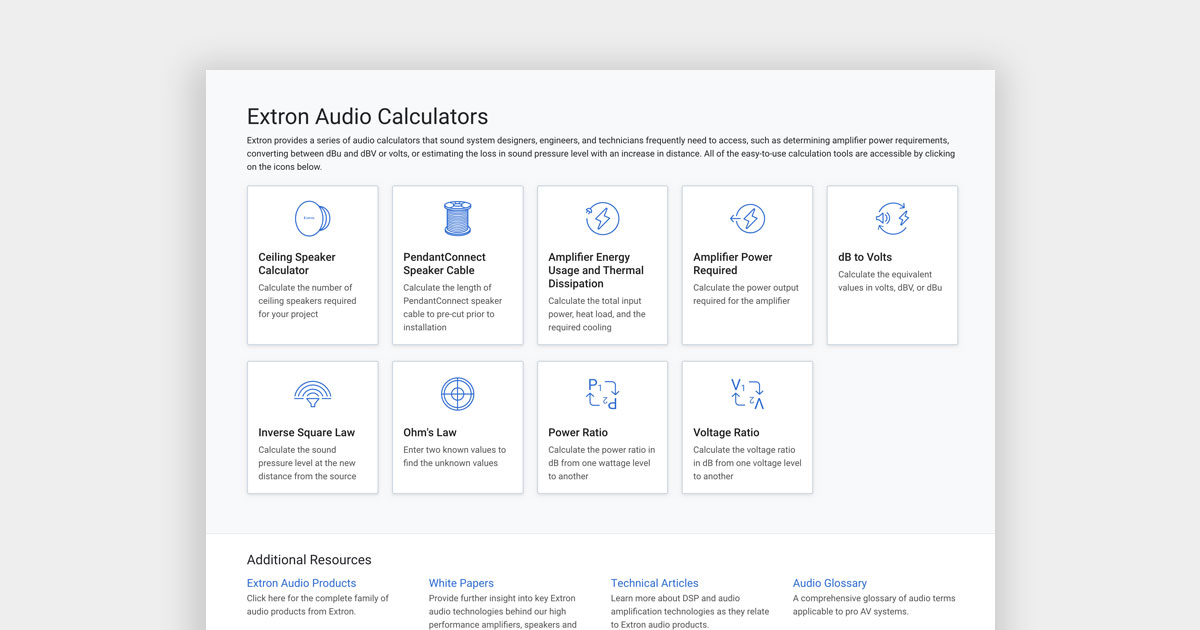 Audio Calculators | Extron