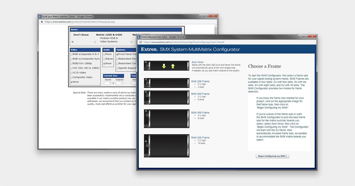 Matrix Builder & SMX Configurator   Extron