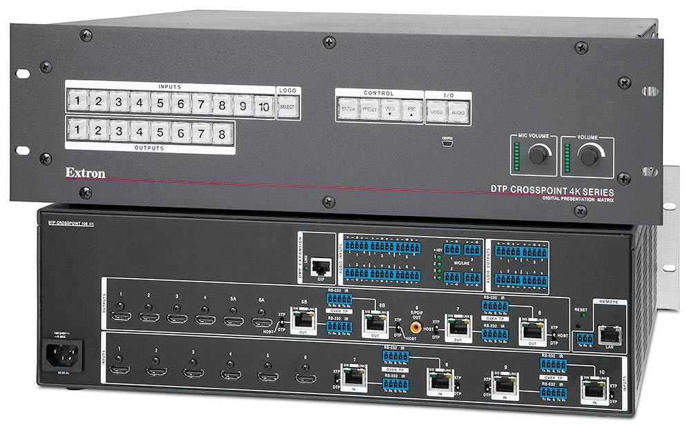 An Extron DTP CrossPoint 108 4K presentation matrix switcher installed in the podium provides AV signal switching and distribution flexibility to support a range of use cases in the visualization studio.