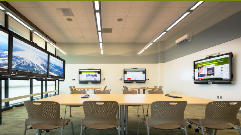 The Data Visualization Studio provides a variety of visualization options, powerful computing, robust video conferencing capabilities, and a collaborative environment that can be broken out for team and individual research projects