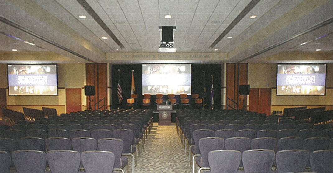 The McIlhenny Ballroom with three projector screens