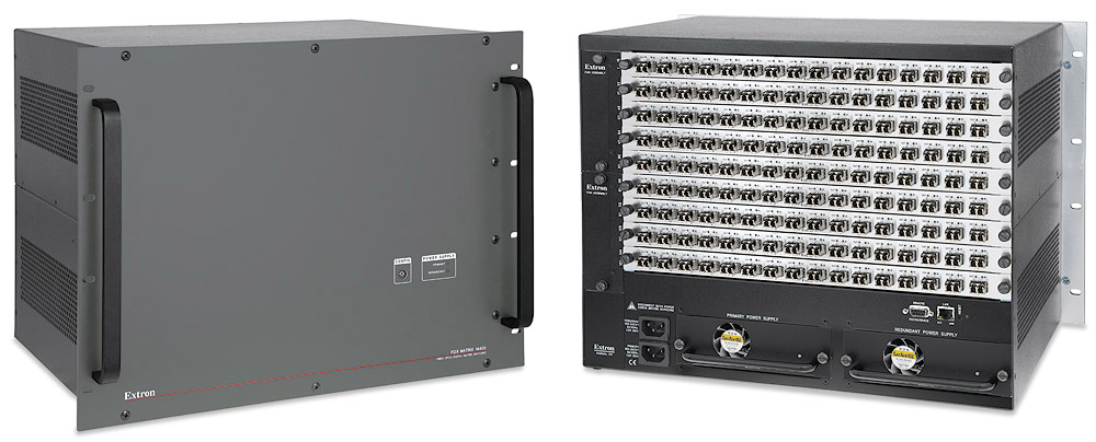 The FOX Matrix 14400 provides highly reliable, enterprise-wide switching and distribution of fiber optic AV and control signals in this mission-critical environment.