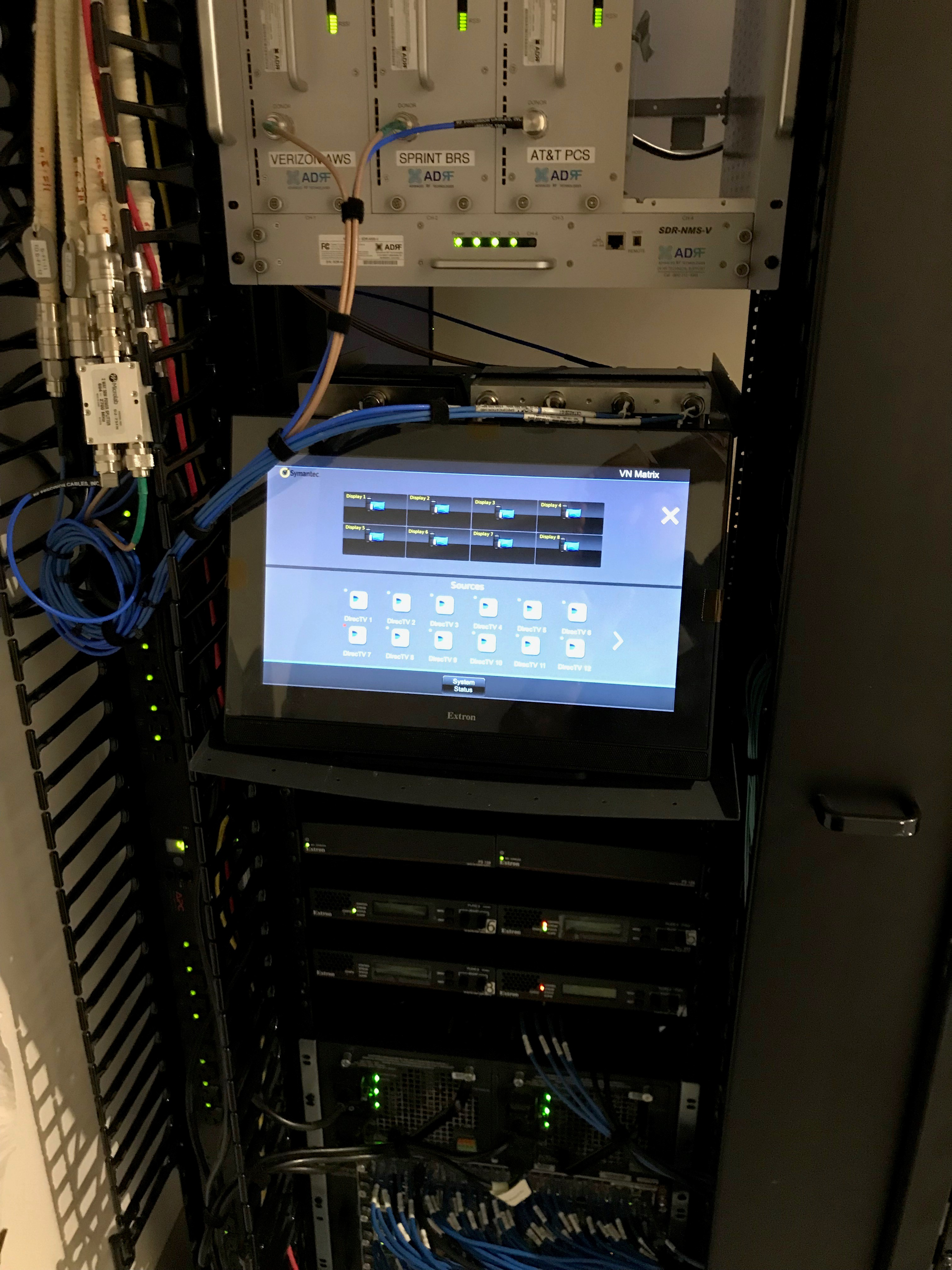 "AV system control is managed using an Extron TLP Pro 1720TG 17"" TouchLink Pro Touchpanel connected to a rack-mounted IP Link® Pro 350 control processor."