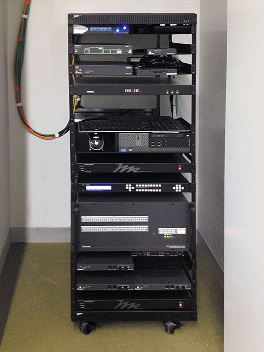 Mobile rack with AV equipment