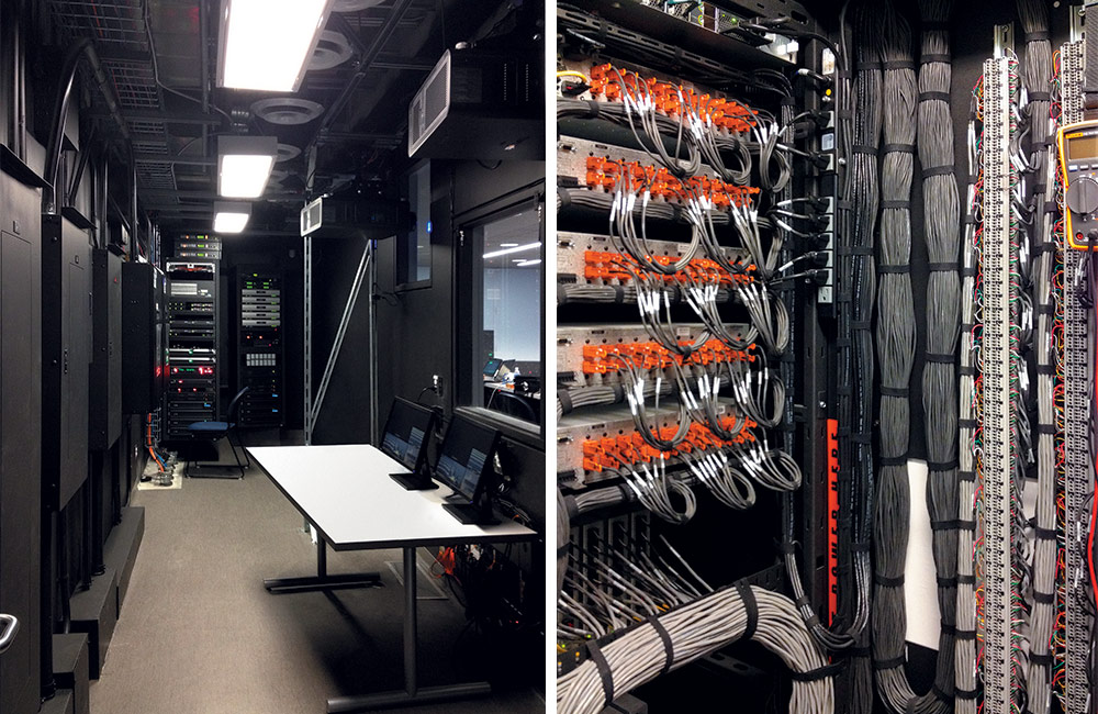 LEFT: Placing racks in a facility's central control room helps reduce noise in DVP-enabled spaces and provides a cool environment for the equipment. RIGHT: Cabling is neatly bundled and properly labeled according to best practices.
