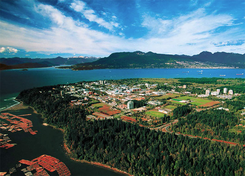 Aerial view of the University British Columbia campus in Vancouver - courtesy of UBC Faculty of Medicine