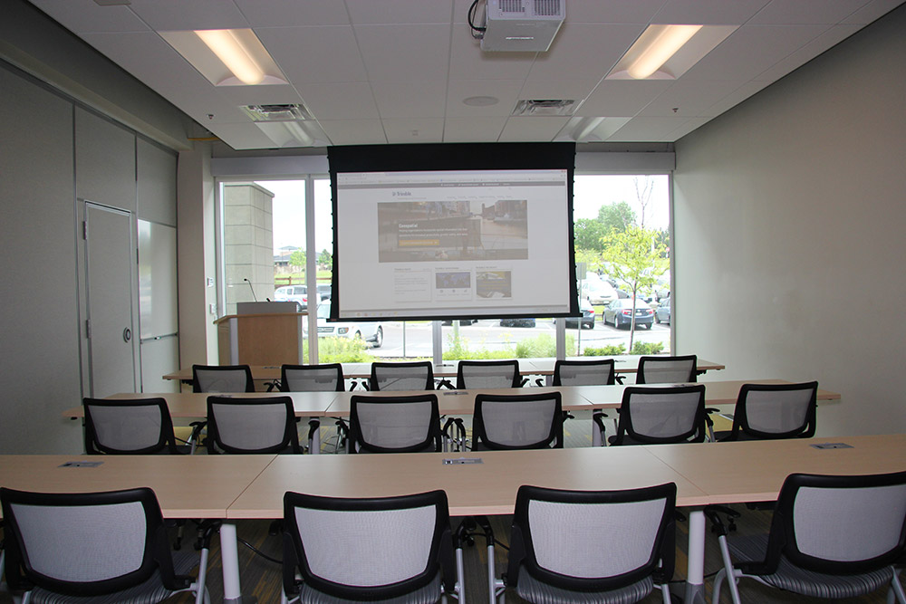 In the training area, front of room and seating can be easily rearranged to suit class size.