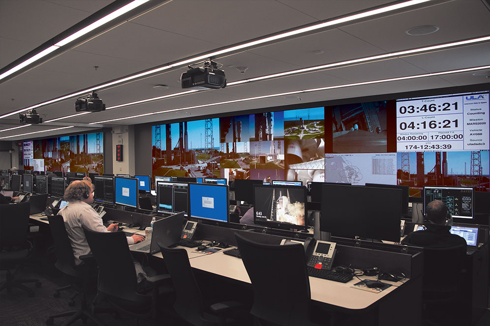 DOSC's two videowalls driven by Quantum Ultra processing support approximately 100 engineers with video and telemetry capabilities for day‑of‑launch activities.