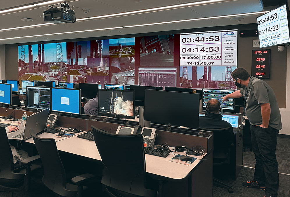 ULA engineers have the ability to display video feeds from launch site cameras alongside analytical data. Content can be independently windowed on any portion of either or both videowalls.