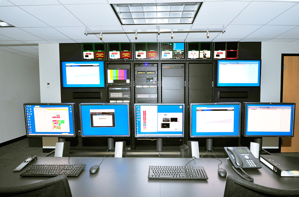 The master control room at the center of the SLC facility provides a high level of AV support for the six technology-enhanced TV studio classrooms.