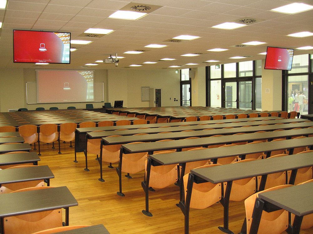 Larger classrooms include multiple display devices to ensure optimal viewing.