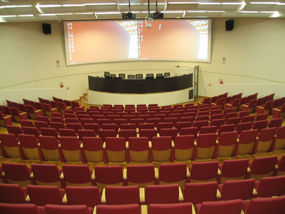 The auditorium includes AV technologies for standard classroom activities to full multimedia presentations at conferences and other important campus events.