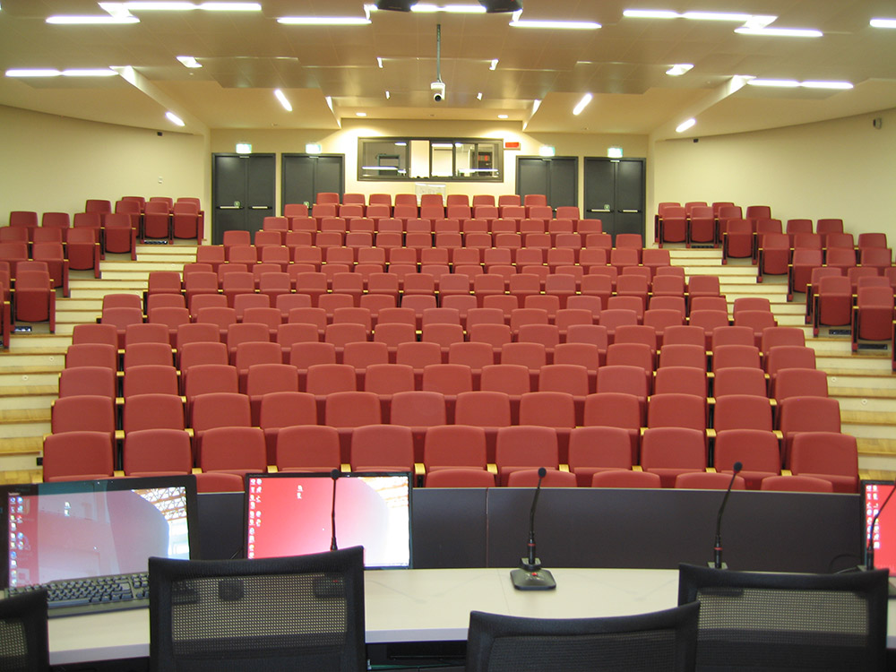 Presentation in the auditorium can be monitored and controlled from the front of the room, through the control room at the back, or remotely via tablet.