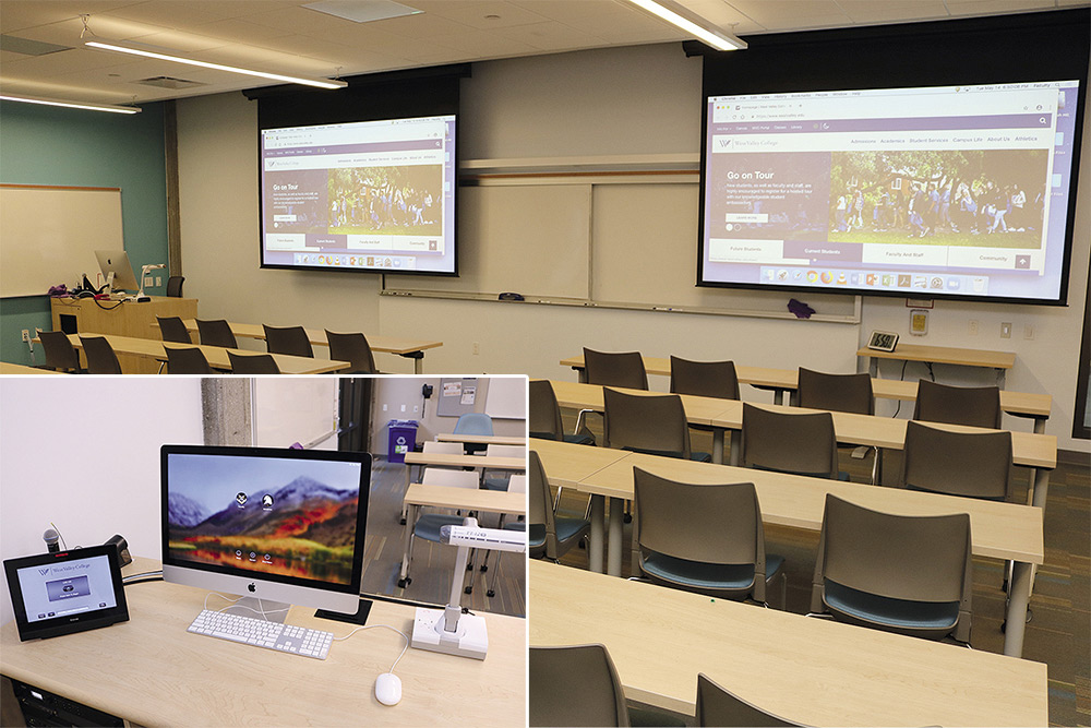 Classroom with dual projectors and podium