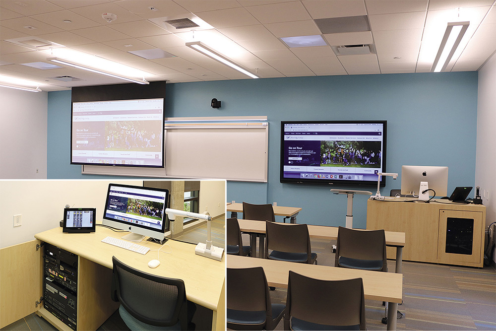 Classroom with projector, flat panel display, and podium containing AV equipment