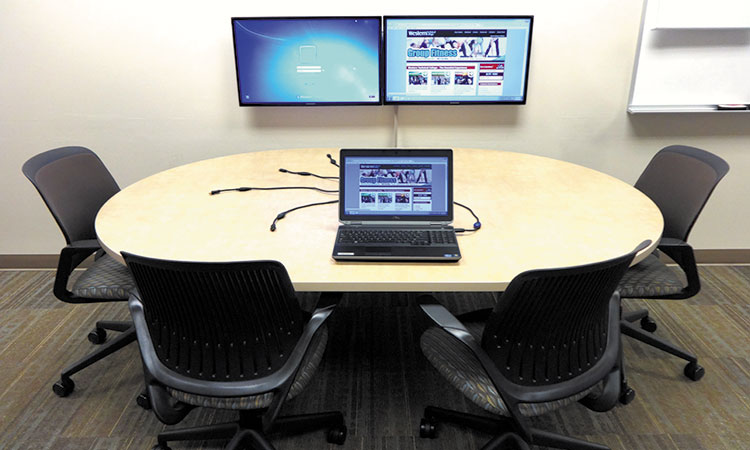 "TeamWork Collaboration Systems provide an intuitive way for students to share their work and ideas with each other and the instructor, simply by connecting their laptops to system ""Show Me"" cables and pressing the ""Share"" button."