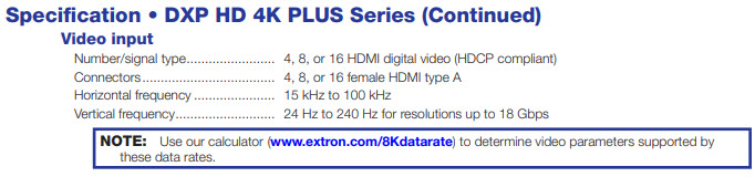 An excerpt of the product specifications for the DXP HD 4K PLUS Series, showing the number/signal, connectors, and type horizontal and vertical frequencies.