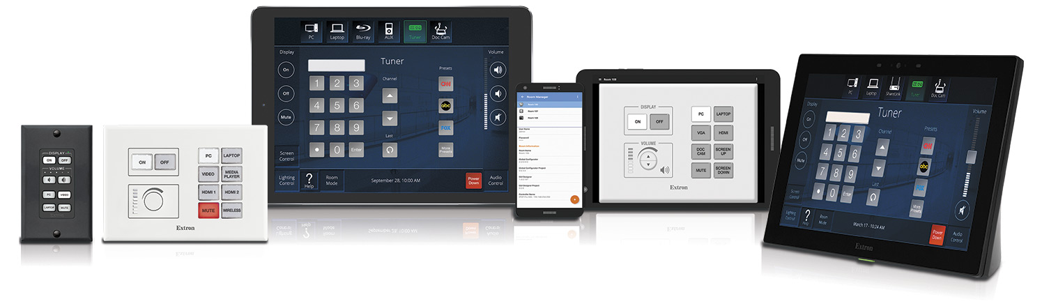 TouchLink Pro Touchpanels, eBUS devices, Network Button Panels, and a mobile device using the Extron Control App