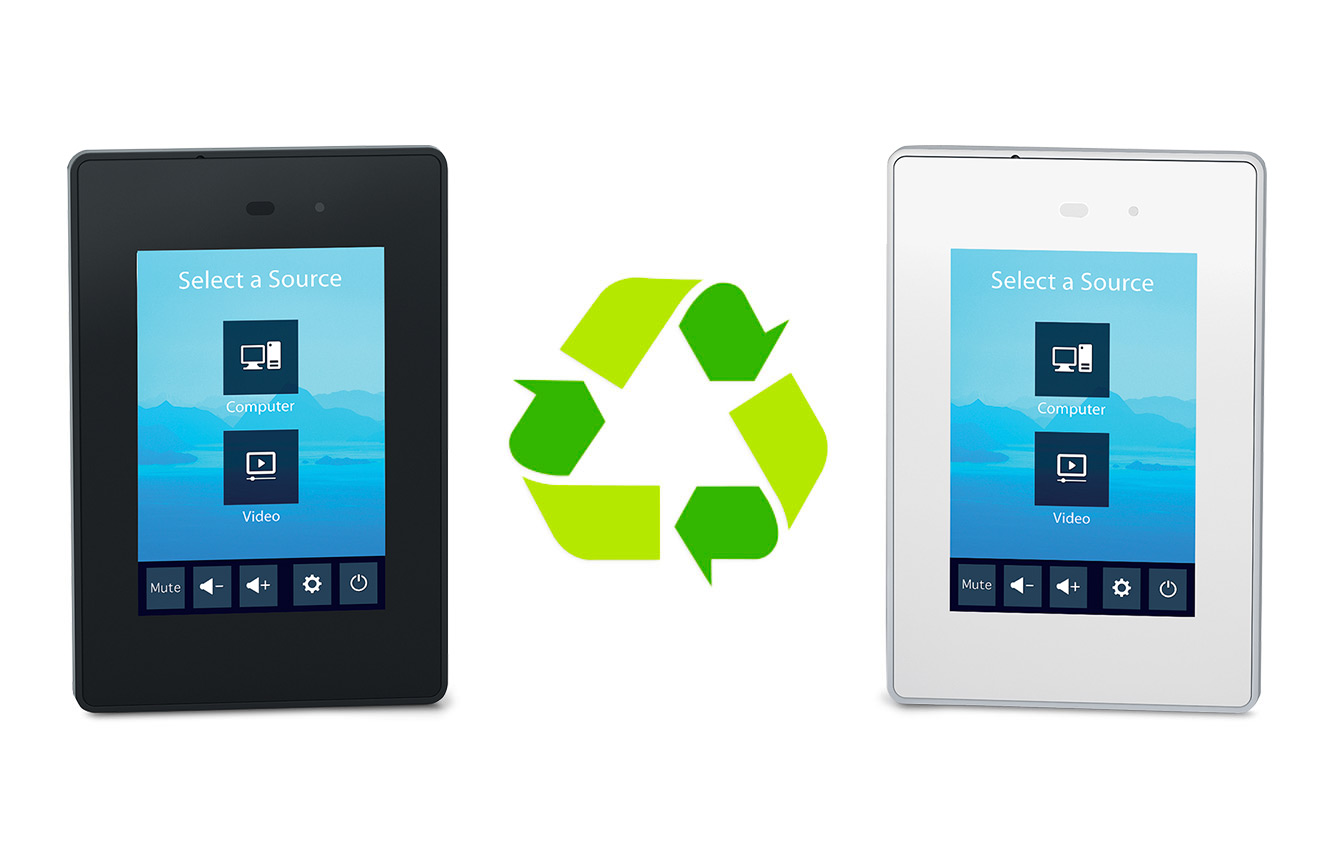TLP Pro 300M black and white models on either side of a recycling symbol