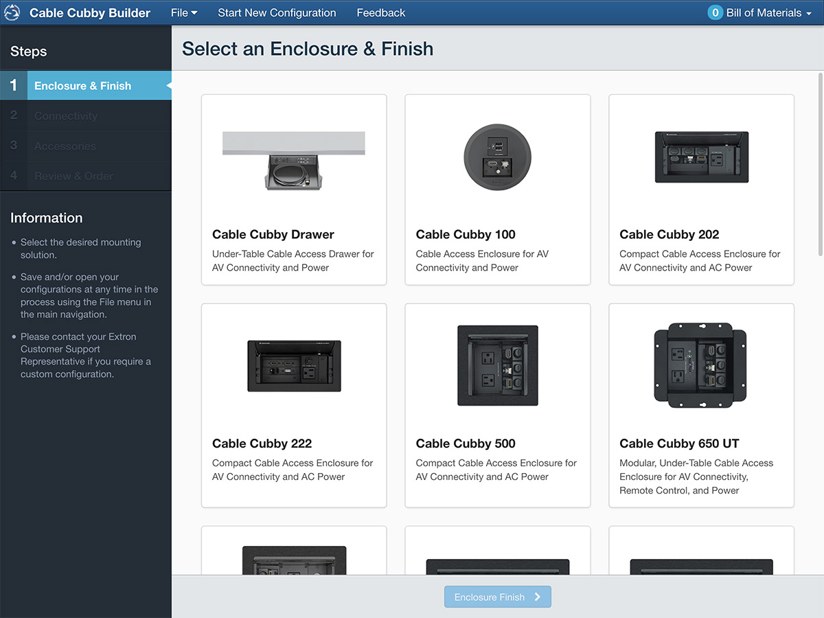 Point-and-click product selection - Configure your Cable Cubby with the click of a mouse