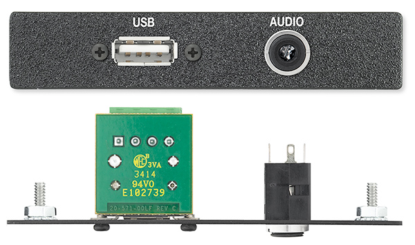 The Extron One USB to 4-pin Captive Screw Terminal Connector, One 3.5 mm Stereo Mini Jack to Solder Tabs
