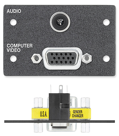 One 15-pin HD Female to Female Gender Changer, One 3.5 mm Stereo Mini Jack to Solder Cups - Black with Silkscreen