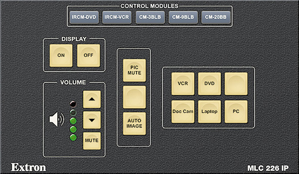 A gray MLC 226 IP GUI with various buttons such as display, volume, and control modules.